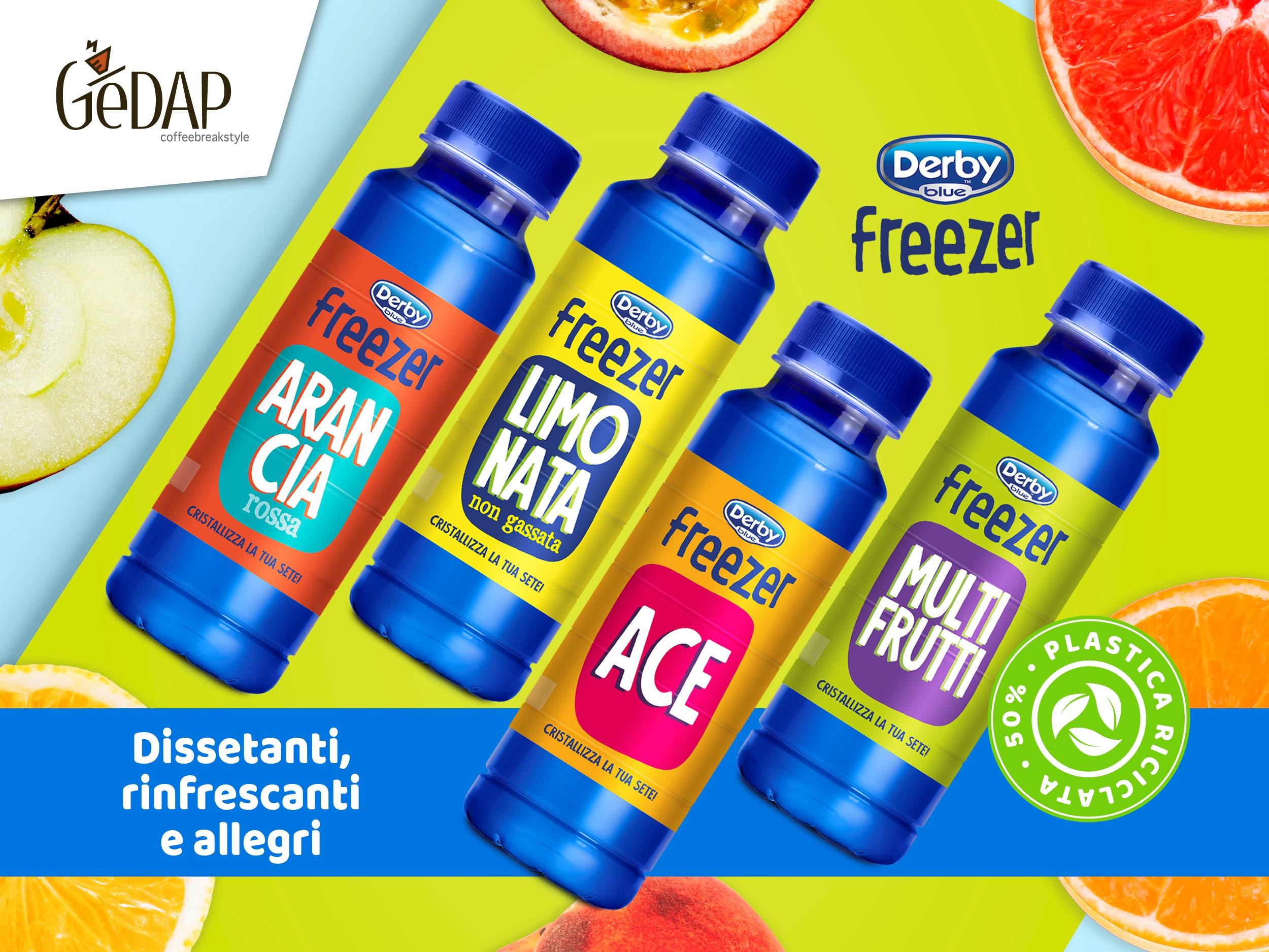 Derby Blue Freezer nella nuova bottiglia in RPet